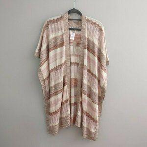 Chicos Textured Stripe Ruana Wrap Shrug Sweater